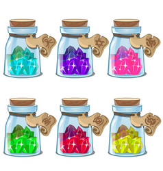 Jars with colorful crystals in cartoon style vector