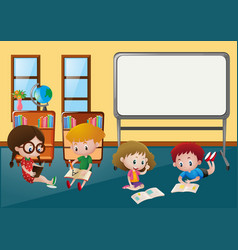 kids learning in classroom vector image