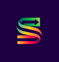 letter s logo with arrow inside vector image