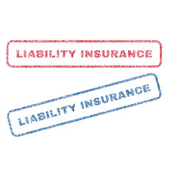 Liability insurance textile stamps vector