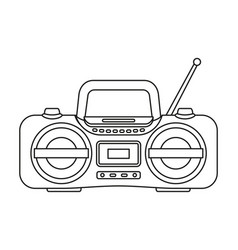 line art black and white boombox vector image