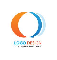 logo circle design orange and blue color vector image