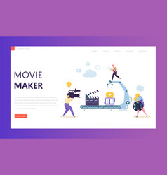 making movie video production landing page vector image