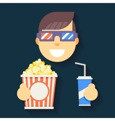 Male guy man boy character cinema 3d glasses big vector