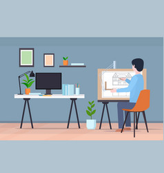 man architect at workplace engineer drafting house vector image