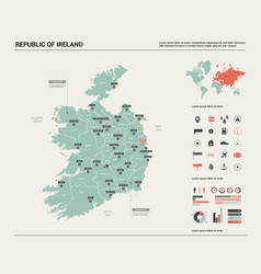 map republic ireland high detailed country vector image