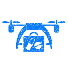 Medical drone grunge icon vector