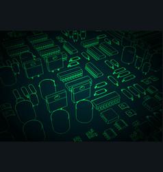 microelectronics closeup vector image