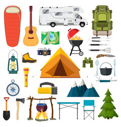 mountain hike elements vector image