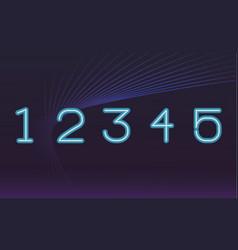 Numbers font neon vector