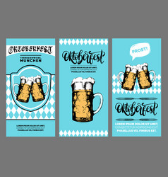 oktoberfest flyer beer festival poster with vector image
