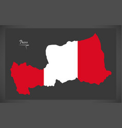 Pasco map with peruvian national flag vector