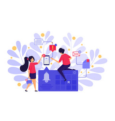 people set bell notifications or ringing bell vector image