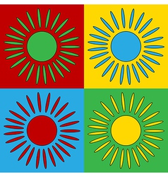 Pop art sun icons vector image