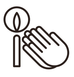 praying hands and candle icon vector image