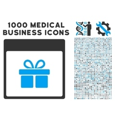 Present Box Calendar Page Icon With 1000 Medical vector image