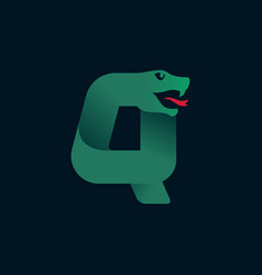 Q letter logo with snake head silhouette vector