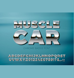 realistic chrome car font blue background vector image