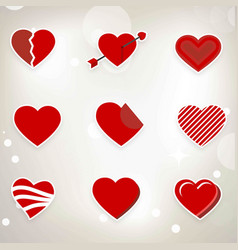 red hearts set icons on light background vector image