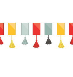 Ribbons with colorful decorative tassels on vector