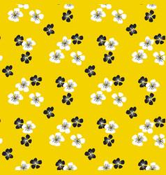 sakura flower blossom seamless pattern on yellow vector image