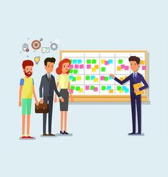 Scrum task board whith sticky note cards vector