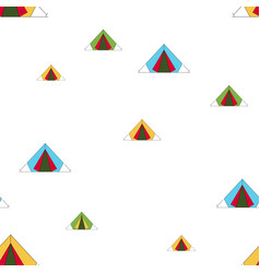 Seamless pattern tent camping vector