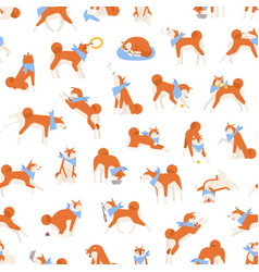 seamless pattern with adorable akita inu vector image