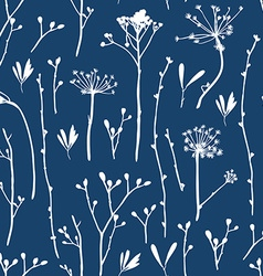 seamless pattern with silhouettes flowers and vector image