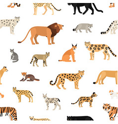 seamless pattern with wild cats on white vector image