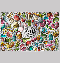 set easter theme items objects and vector image