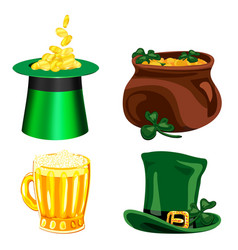 set of cartoon icons for st patrick s day vector image