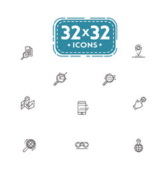 set of fine line icons of vector image