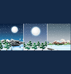 set of winter outdoor landscape vector image