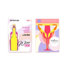 set posters for wine festival background vector image