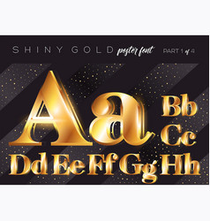 shiny gold alphabet realistic metallic typeface vector image