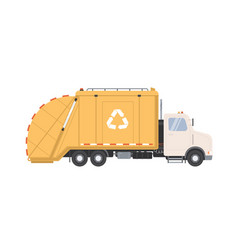 side view garbage truck with recycle sign for vector image