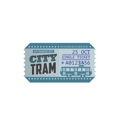 Single ticket on city tram isolated paper card vector