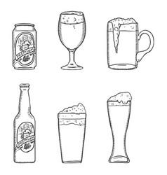 sketch set beer glasses bottle and can vector image