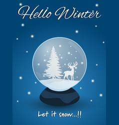 Snow globe with deer vector