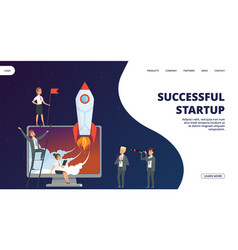 startup landing page successful business vector image