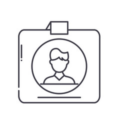 Student card icon linear isolated vector