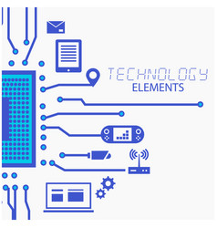 technology elements circuits white background vect vector image