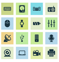 technology icons set with smart watch keyboard vector image