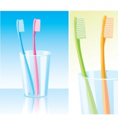 toothbrushes in the glass vector image