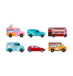 transportation vehicles set urban public and vector image