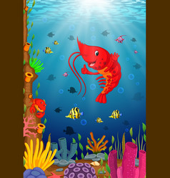 tropical lobster with beautiful underwater world vector image