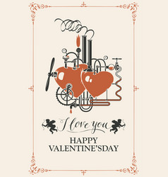 valentine card with love factory and inscriptions vector image
