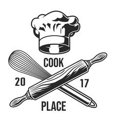 Vintage kitchen utensils logotype vector