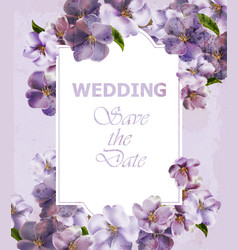 Wedding invitation purple card spring vector
